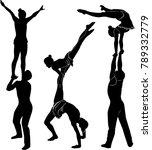 gymnasts acrobats vector black... | Shutterstock .eps vector #789332779