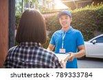 woman appending receive sign... | Shutterstock . vector #789333784