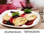 pancakes filled with cottage... | Shutterstock . vector #789343054