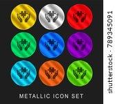 puzzle 9 color metallic... | Shutterstock .eps vector #789345091