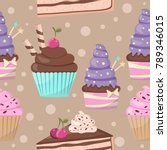 seamless pattern of cute cakes... | Shutterstock .eps vector #789346015