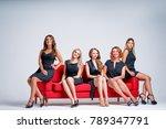 elegant women. group portrait... | Shutterstock . vector #789347791