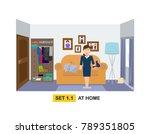 apartment interior flat vector... | Shutterstock .eps vector #789351805