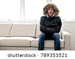 man with warm clothing feeling...   Shutterstock . vector #789353521