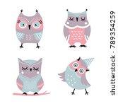 cute cartoon owls vector set | Shutterstock .eps vector #789354259
