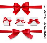 set of wrapped red bows and... | Shutterstock .eps vector #789355291
