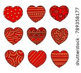 vector hearts set for wedding... | Shutterstock .eps vector #789358177