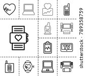 monitor icons. set of 13... | Shutterstock .eps vector #789358759