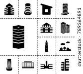 cityscape icons set of 13