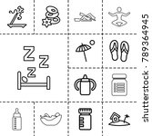 relax icons. set of 13 editable ... | Shutterstock .eps vector #789364945
