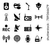 radio icons. set of 16 editable ... | Shutterstock .eps vector #789366679