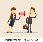 business woman shouts at the... | Shutterstock .eps vector #789372865