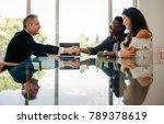 male real estate broker shaking ... | Shutterstock . vector #789378619