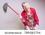 cleaning senior lady crazy and... | Shutterstock . vector #789381754