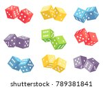 pair dice isolated on white.... | Shutterstock .eps vector #789381841