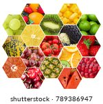 fruits and vegetables collage | Shutterstock . vector #789386947