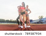 group of fit young sportswomen... | Shutterstock . vector #789387934
