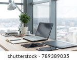 workplace with notebook laptop... | Shutterstock . vector #789389035