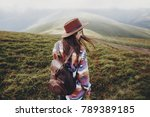 stylish traveler girl in hat... | Shutterstock . vector #789389185