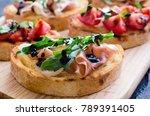 brushetta or authentic... | Shutterstock . vector #789391405
