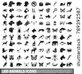 100 animals icons set in simple ... | Shutterstock .eps vector #789392587