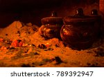 ceramic pots with food in the... | Shutterstock . vector #789392947
