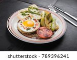 breakfast with eggs with...   Shutterstock . vector #789396241
