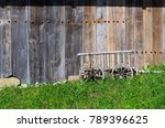 Old Wooden Small Cart Side By...
