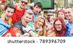happy sport fans having fun... | Shutterstock . vector #789396709