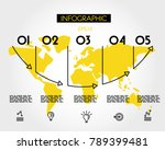 yellow map with arrow arc ... | Shutterstock .eps vector #789399481