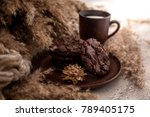 a cup of milk with brown... | Shutterstock . vector #789405175