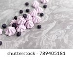 merenga with blueberries  | Shutterstock . vector #789405181