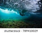 lady surfer struggles between... | Shutterstock . vector #789410029