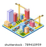 colorful 3d isometric city | Shutterstock .eps vector #789410959