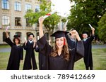 we did it  happy grad girl is... | Shutterstock . vector #789412669