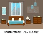 bedroom with furniture and... | Shutterstock .eps vector #789416509