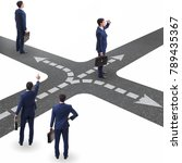 young businessman at crossroads ...   Shutterstock . vector #789435367