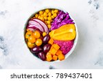 mediterranean buddha bowl with...   Shutterstock . vector #789437401