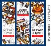 repair service banners of work...   Shutterstock .eps vector #789441949