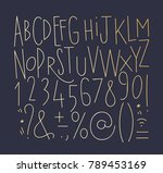 alphabet set straight lines... | Shutterstock .eps vector #789453169
