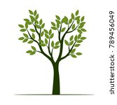 set green trees with leaves.... | Shutterstock .eps vector #789456049