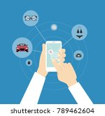 online shopping with smartphone.... | Shutterstock .eps vector #789462604
