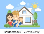 family with house. happy... | Shutterstock .eps vector #789463249
