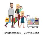 isolated family shopping at... | Shutterstock .eps vector #789463255