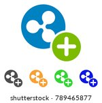 ripple coin add icon. vector... | Shutterstock .eps vector #789465877