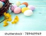 colorful easter eggs in nest...   Shutterstock . vector #789469969