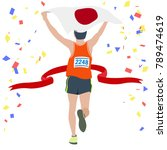 man running at the finish line. ... | Shutterstock .eps vector #789474619