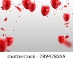 red white balloons  confetti... | Shutterstock .eps vector #789478339