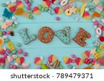 colorful candies on wooden... | Shutterstock . vector #789479371