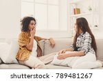 two happy young female friends... | Shutterstock . vector #789481267